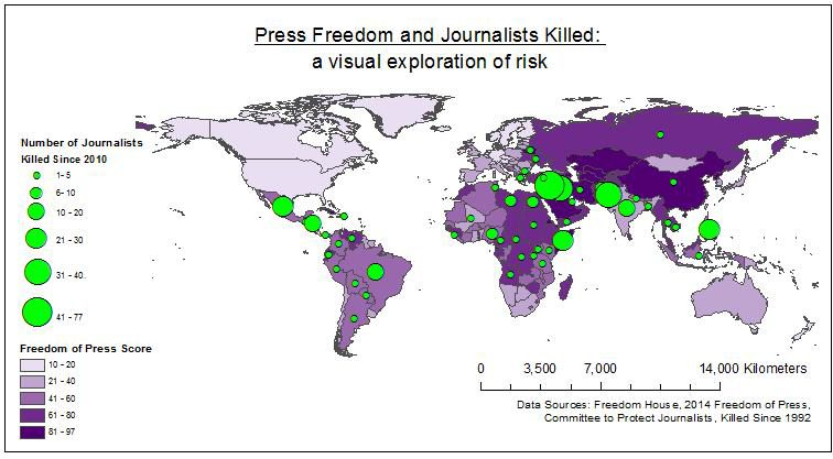 Photo of Map suggests links between press freedom and the number of journalists killed