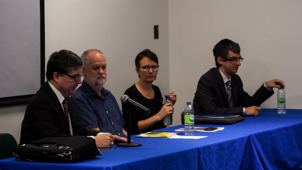 Dr. David McKeown, Medical Officer of Health for the City of Toronto; André Picard, health reporter and columnist at the Globe and Mail; Dr. Jane Pirkis, director of the Centre for Mental Health and the University of Melbourne; Dr. Mark Sinyor, assistant professor in the Department of Psychiatry at the University of Toronto (Photo credit: Kieran Delamont)