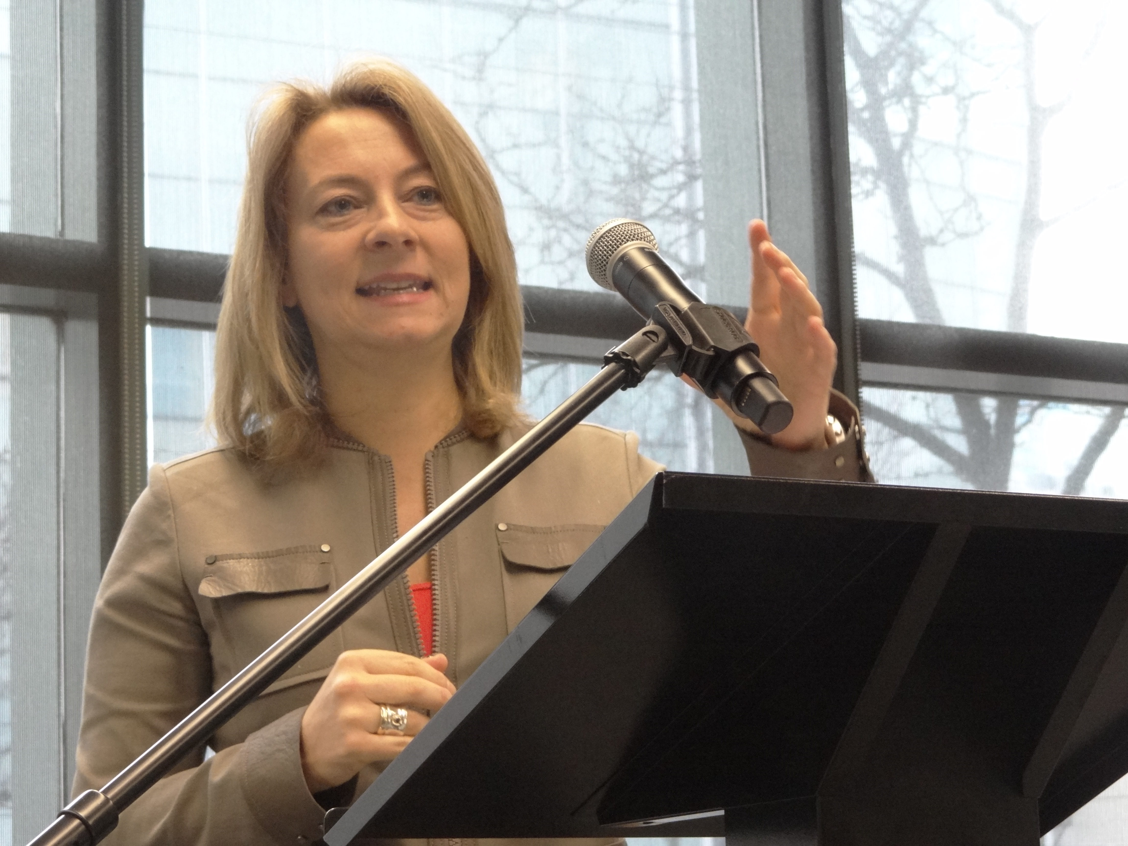 Adrienne Arsenault recounts her time covering the Ebola epidemic in Monrovia, Liberia, at a presentation at the Ryerson School of Journalism Feb. 2. [Ilina Ghosh]