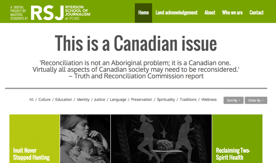 A screenshot from the This is a Canadian Issue website created by Asmaa Malik's digital reporting class.