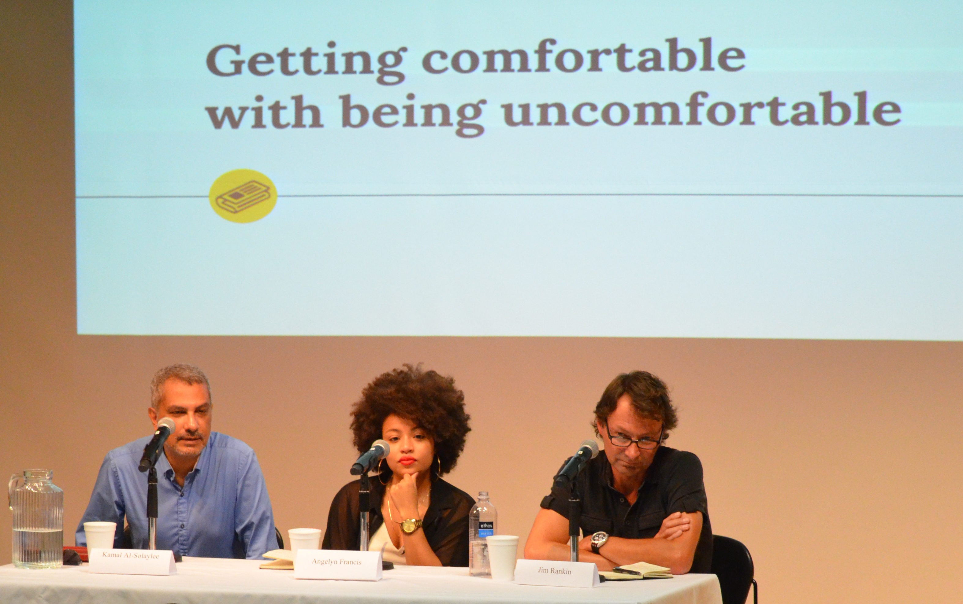 Kamal Al-Solaylee, Angelyn Francis and Jim Rankin discuss how reporters can get comfortable while covering controversial stories at an RJRC panel.