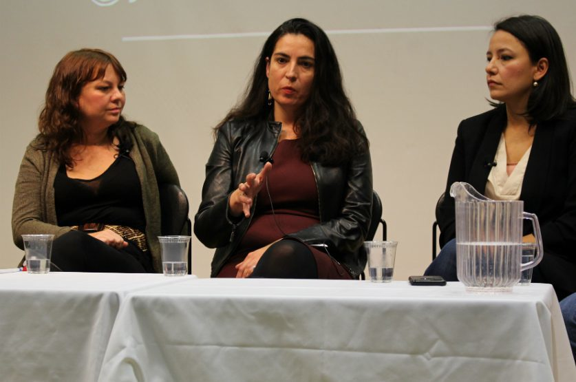 Journalists Karyn Pugliese, Tanya Talaga and Connie Walker speak on covering Indigenous community at the Ryerson School of Journalism. (Jasmine Bala)